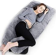 Gluckluz Maternity Pillow Pregnancy Full Body U Shaped Pillow Case Velvet with Zipper Removable Cover for Preg