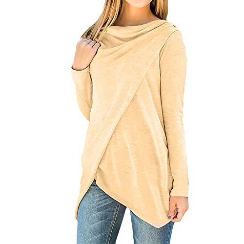 (Subfamily Damen Reine Farbe UnregelmäßIge Shirt Buttons Sweatshirt Langarm T Shirt Bluse UnregelmäßIge Taste Cardigan Print Top Bekleidung Damen Kleider)