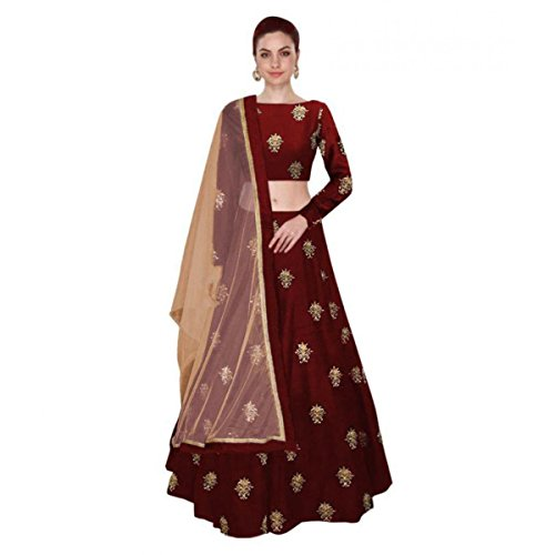 Shree Impex Women's Embroidered Taffeta Silk Maroon Semi stitched Lehenga Choli