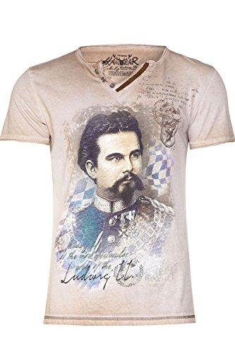 Hangowear Herren Herren T-Shirt mit Ludwig II beige, Beige, XL