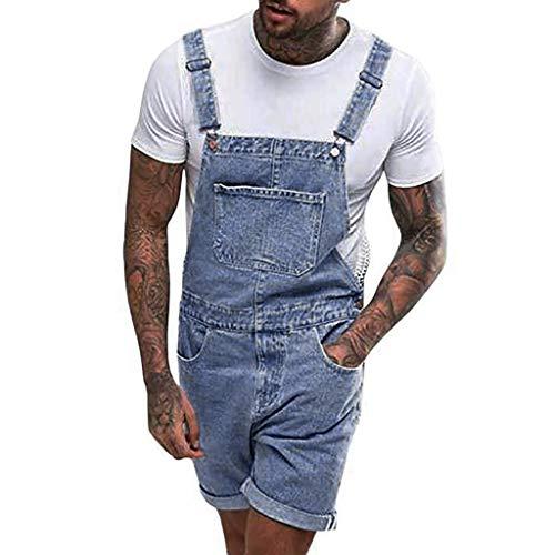 Preisvergleich Produktbild Madmoon Herren Jeans Latzhose Denim Shorts Overall Latzshorts Arbeitshosen Sommer Kurze Hose Jeans Stretch Kurze Jeanshose zerrissen ausgefranste Freizeit Hosenträger Streetwear Hosen