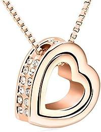 18 K en oro para mujer-collar con colgante corazón y 45 cm + 5 cm Cadena ajustable