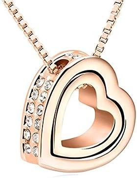 Auralum Damen-Halskette mit Herzanhänger und 45cm+5cm verstellbare Kette