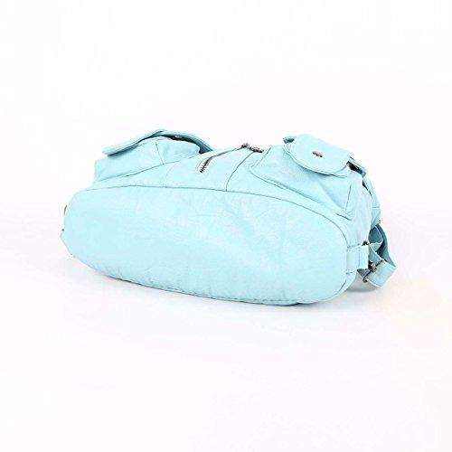 Angelkiss 2 Top Cerniere multi tasche Borse Lavato borse in pelle borse a spalla zaino W6802 Azzurro