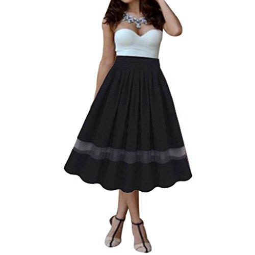 ESAILQ Skirts, Women Girl Stretch High Waist Plain Flared Long Maxi Dress