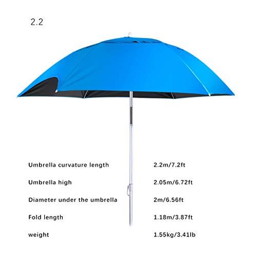 outdoor umbrella Anmut Blauer klassischer Sonnenschirm, kreatives Gap-Design, 7 Fuß großer Sonnenschirm mit Sandanker, um 360 Grad drehbarer Aluminium-Sonnenschirm für den Markt (Markt Sonnenschirm Blau)