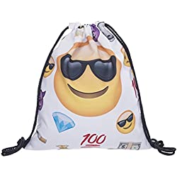 Bolsa de tela ,Flyfish Mochila Bolsa Sackpack budle viaje bolsillo estudiantes mochilas paquete de gimnasio ideal para viajar (100 EMOJI)