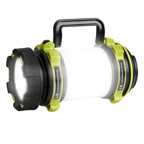 LE Lámpara de camping LED USB Recargable, 500lm 7700Lux Regulable, con Luces Laterales Blanca y Roja, Función de Powerbank, Resistente al agua IPX4, farol de camping y hiking