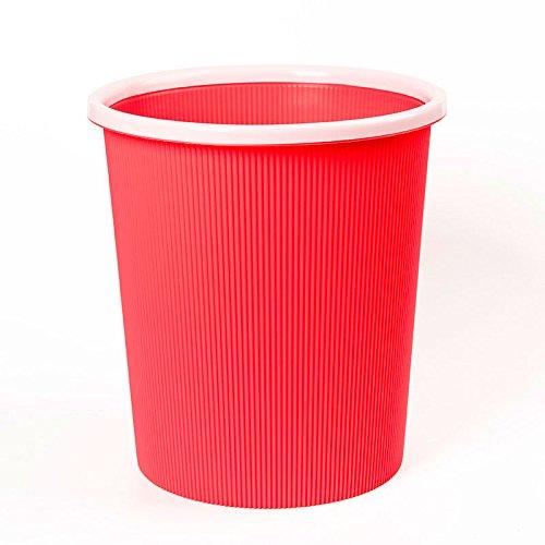 HZH Kreative Mode Striped Mülleimer für Badezimmer Küche Wohnzimmer Schlafzimmer Hause Kunststoffabdeckung Mülleimer ( Color : Red ) (13 Gallone Küche Mülleimer)
