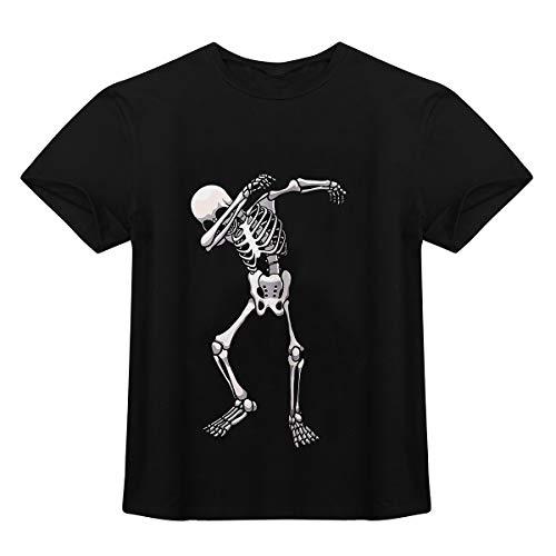 FEESHOW Herren Rundhals T-Shirt Kurzarm Sommer Shirts Top Skelett Print Oberteile Casual Basic Halloween Kostüm DJ Kleidung Clubwear Schwarz XXL(Brust 123cm)