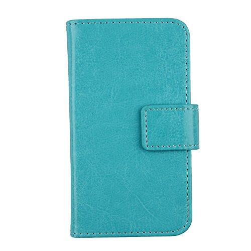 Gukas PU Leder Tasche Hülle Für Archos Sense 47X 4.7 Handy Flip Design Brieftasche mit Karten Slots Schutz Protektiv Case Cover Etui Skin (Farbe: Blau)