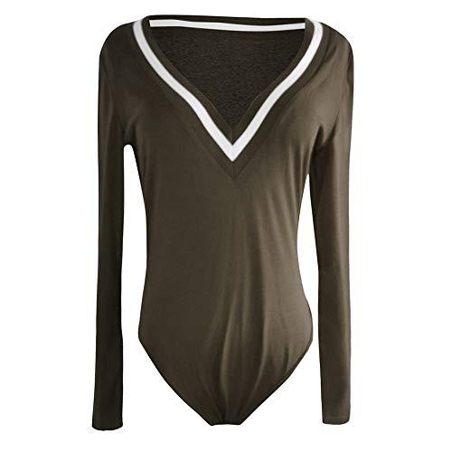 FIRSS-BH Damen Body V-Ausschnitt Bodysuit Elegant Langarm Pullover Basic Jumpsuit Sexy Overalls Playsuit Babydoll Langarmshirts Oberteile Einteiler Damenbody Rompers S - 2