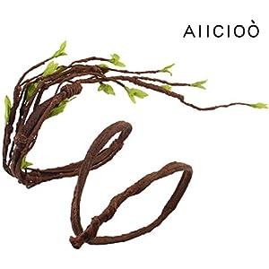 [Gesponsert]AIICIOO Reptil Jungle Reben Dekoration für Chamäleon/Schlange / Frösche Terrarium Forest Branch Braun AST mit Blätter Saugnapf-140cm