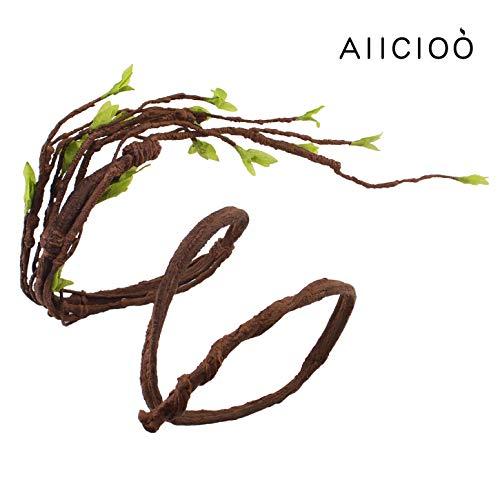 AIICIOO Reptil Jungle Reben Dekoration für Chamäleon/Schlange / Frösche Terrarium Forest Branch Braun AST mit Blätter Saugnapf-140cm