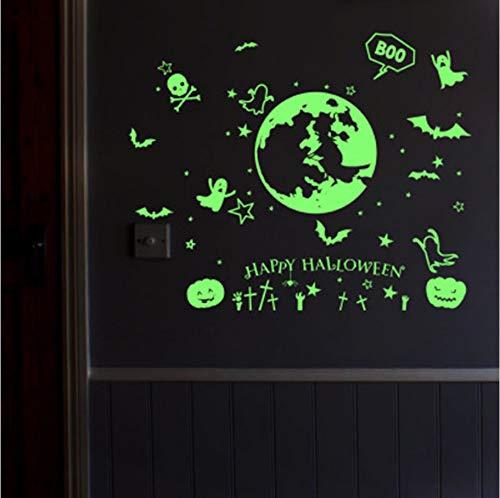 Zxfcccky Glow In The Dark Wandaufkleber Leuchtende Fledermaus Kürbis Geist Happy Halloween Wandtattoos Kinderzimmer Kinderzimmer Fenster Glas Dekor Kunst