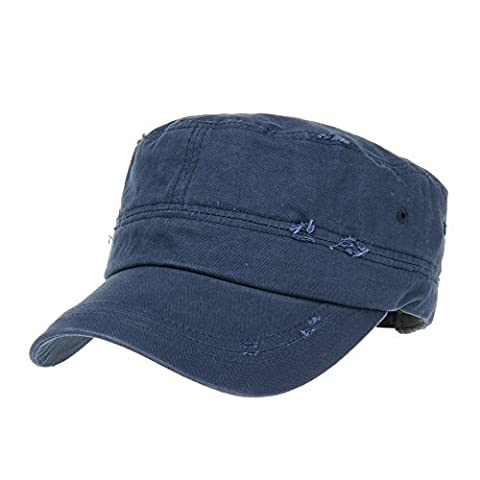 WITHMOONS Militaire Casquette de Baseball Cadet Cap Camouflage Twill Cotton Distressed Washed Hat KR4303 (Navy)