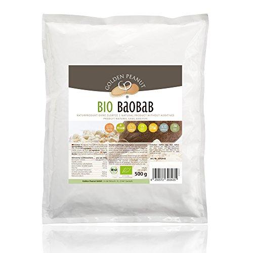 Bio Baobab 500 g Beutel Fruchtpulver 100% rein, ohne Zusätze, reich an Vitaminen, Rohkostqualität -