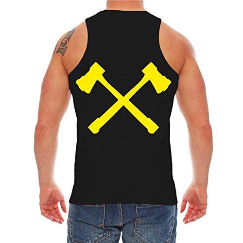 Männer und Herren Trägershirt Feuer bekämpfen du musst (mit Rückendruck) Schwarz