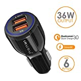 #4: Irusu 6.0 Amp Dual USB Car Charger Fast Charging with Qualcomm Quick Charger QC 3.0 for All Apple and Android Phones