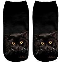 calcetines termicos mujer invierno, Sannysis calcetines antideslizantes mujer calcetines yoga calcetines compresión calcetines mujer colores Calcetines cortos divertidos de tobillera casuales (Gato 3D Color F)