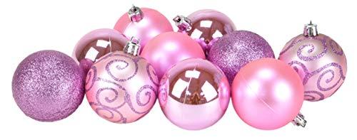 Christmas concepts® confezione da 10 60mm - bagattelle per albero di natale - bagattelle decorate lucide, opache e glitterate. (baby pink)