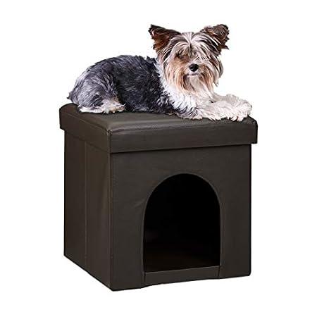Relaxdays Hundebox Sitzhocker HBT 38 x 38 x 38 cm stabiler Sitzcube mit praktischer Tierhöhle für Hunde und Katze aus…