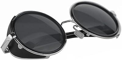 Hot Steampunk Retro estilo años 50, color plateado y negro marco redondo espejo lente gafas Blinder gafas de sol