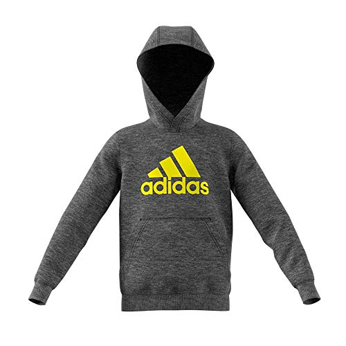 adidas Jungen Logo Hood Kapuzen-Sweatshirt Dark Grey Heather/Shock Yellow 140