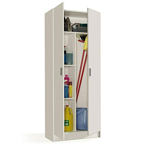 Bricozone paige plus armadio multiuso, armadio in legno 5 vani interni, armadio 2 ante, 73 x 180 x 37 cm, bianco