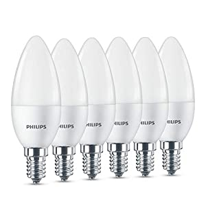 Philips LED Lampe, ersetzt 40W, E14, Warmweiß (2700 K), 470 Lumen, Kerzenform, 6er Pack, matt