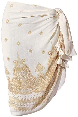 ESMARA® Damen Pareo mit Franzen (elfenbein mit goldbeigem Druck, ca. B 70 x L 170 cm)