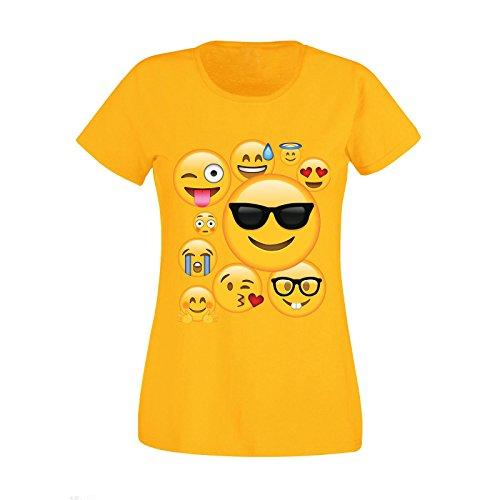 Cellulari Simboli T shirt Emoji Emoticons Smiley Ideogrammi nuove donne Top Tee Yellow