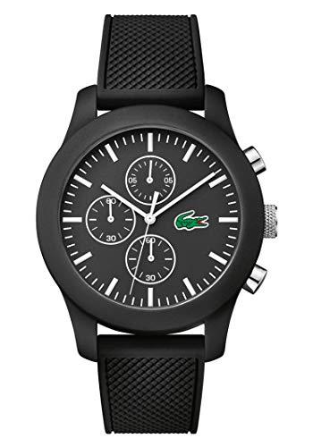 Lacoste 2010821 - Reloj analógico de pulsera para hombre, esfera con cronógrafo, correa de silicona,Negro