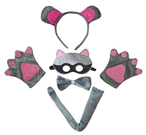 Waschbär Maske Kostüm - Petitebelle Stirnband Bowtie Schwanz Handschuhe Maske 5pc Kostüm Einheitsgröße Waschbär
