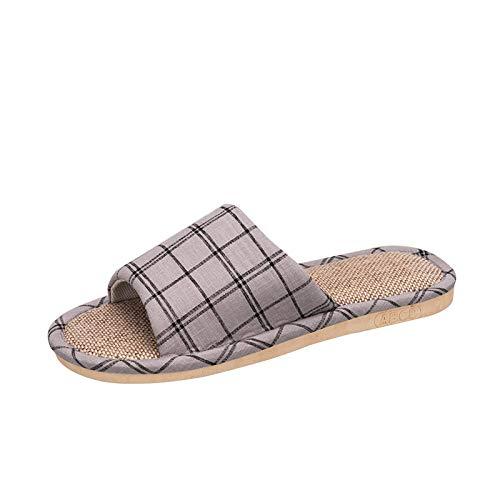 BARCTELRT Sandalen Damen Tanga Hausschuhe Sommer Hausschuhe Aus Leinen Home Home Slip Männlich Indoor Dicken Boden Paar Gray 38-39