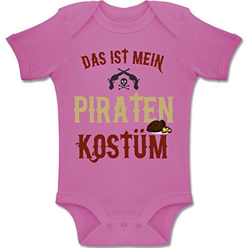 Karneval und Fasching Baby - Das ist Mein Piraten Kostüm - 12-18 Monate - Pink - BZ10 - Baby Body Kurzarm Jungen - Kostüm Pirat Baby