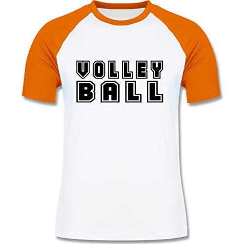 Shirtracer Volleyball - Volleyball Schriftzug - Herren Baseball Shirt Weiß/Orange