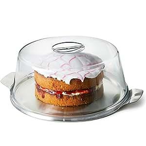 Drinkstuff Cloche à gâteau en plastique et assiette en métal 30 cm