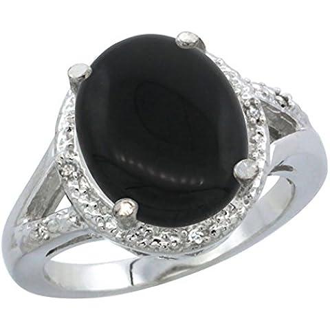 Revoni-Bracciale in oro bianco 14 kt, con anello d'onice ovale, 12 x 10 mm, taglio diamantato