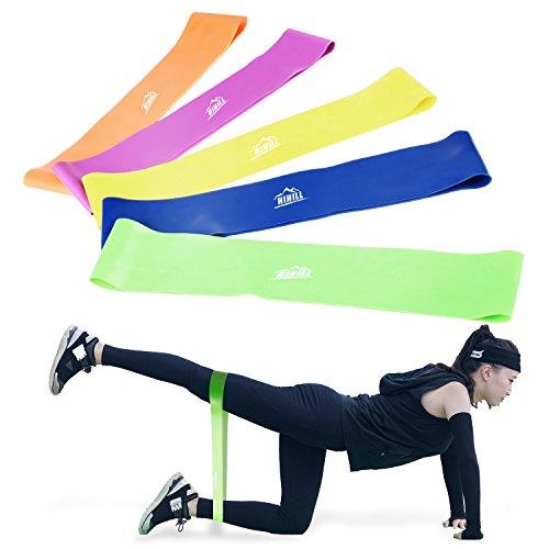 HiHiLL Fitnessbänder Widerstandsbänder 5er Set, aus ungiftigem Naturlatex Elastisch Fitness Band, Hautfreundlich für Muskelaufbau, Gymnastik, Yoga usw.