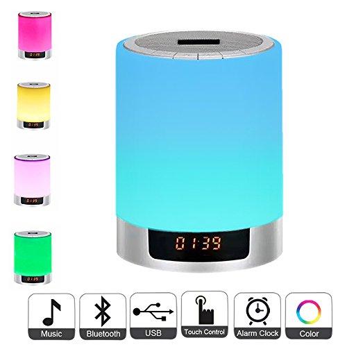 Luces de noche Altavoz Bluetooth, Lámpara de cabecera Reloj de control táctil Reloj de alarma Color LED Cambio de color Altavoz inalámbrico con luces USB AUX MP3 Reproductor de música para niños