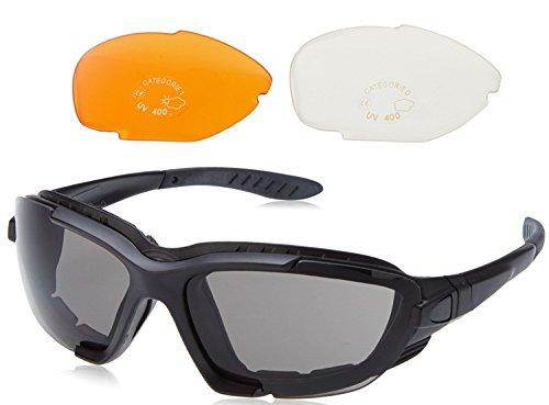 Solex Erwachsene Sportbrille Sport Sonnenbrille mit 3 Paar Linsen Schaumstoff Kopfgurt Comp Schwarz