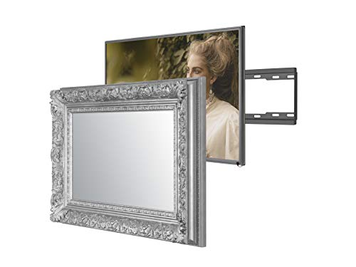 Handmade Framed Mirror TV with Samsung to Blend This Hidden Mirrored Television into Your Home or Business Decor (55 Inch, Barbican Silver)