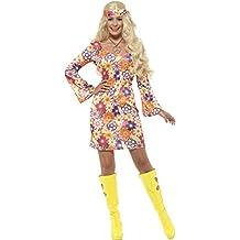 Smiffy's   - Damen Blumen Hippie Kostüm, Kleid, Haarband und Medaillon, mehrfarbig