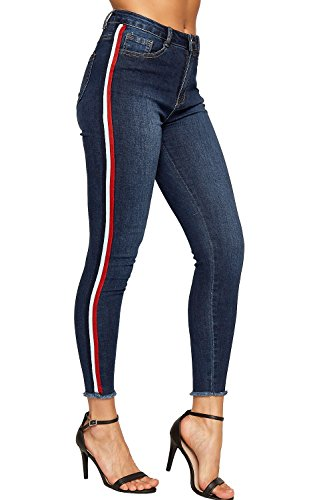WEARALL - Damen Dünn Bein Ausgefranst Saum Gestreift Hoch Taille Damen Strecke Denim Knöchel Jeans - Rot - 36 (Knöchel-länge, Damen Jeans)