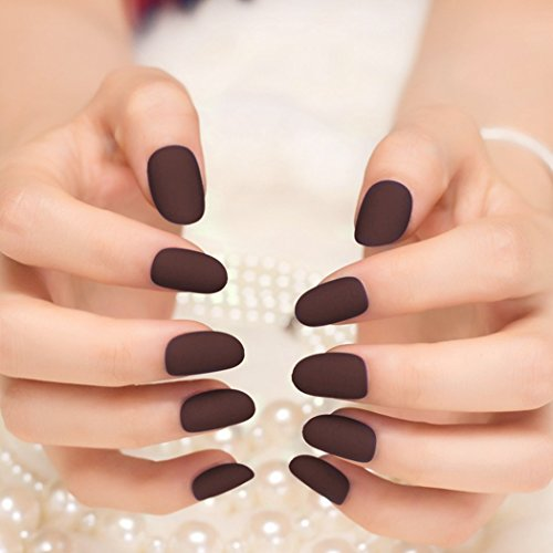 jovono False Nail Tips Oval Fake Nägel für Frauen und Mädchen (matt lila) (Nagel-sets Für Teenager)