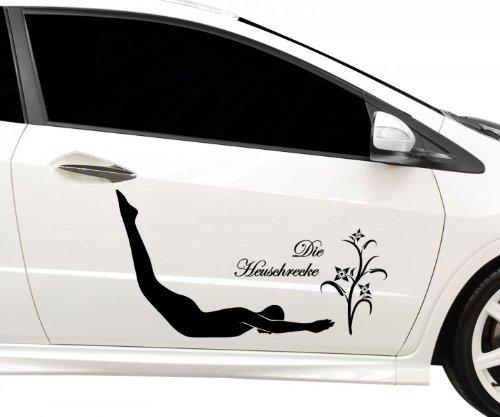 Autoaufkleber Die Heuschrecke Yoga Sport Sticker Auto Tattoo Aufkleber 5G100, Farbe:Schwarz glanz;Breite vom Motiv:40cm (Schwarze Heuschrecken)