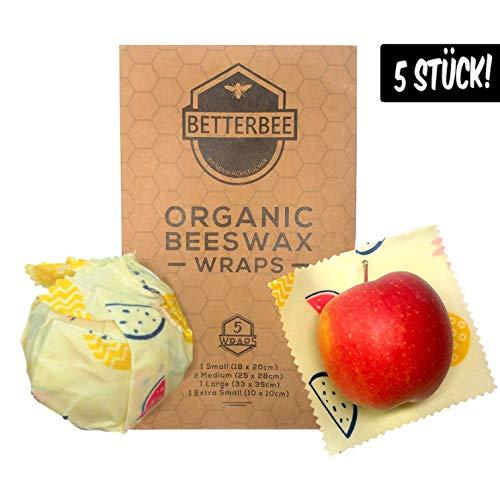 BetterBee Wachspapier 5er Set - Bio Bienenwachstuch mit Zirtonenöl Alternative für Frischhaltefolie und Alufolie Enthält 5 Tücher - Verschiedene Größen