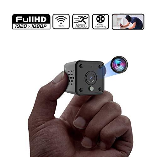 Mini Kamera, Full HD 1080P Tragbare Kleine Überwachungskamera mit Bewegungserkennung und Infrarot Nachtsicht, Compact Sicherheit Kamera für Innen und Aussen, Nachtsicht Wireless Mikro Nanny Cam