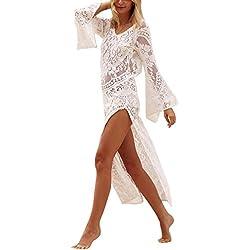 Mujer Largo Vestido de Playa Maxi Irregular Vestido de Encaje Blanco M